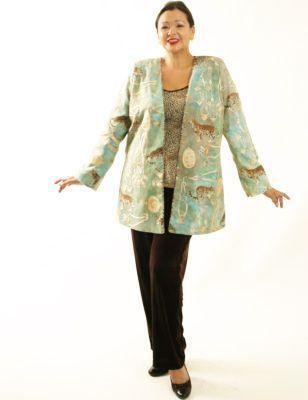 0d8f85701f2 Plus Size Special Occasion Jacket Cheetah Print Swarovski Aqua Gold ...