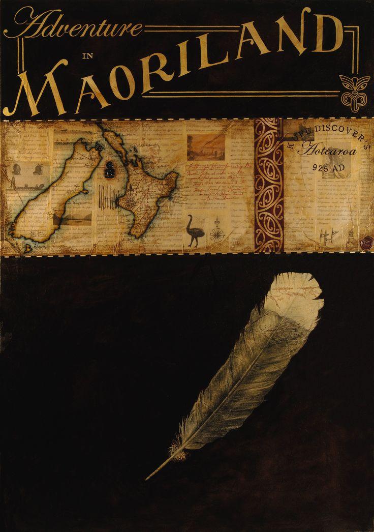Title: Adventure in Maoriland Size: 100cm x 70cm Medium: Watercolour, ink, graphite, gouache, paper, shellac on canvas Date: 2006