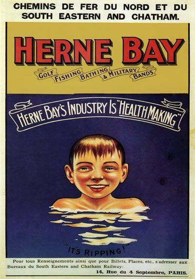 This 1906 poster by an unknown artist made me chuckle. Its aim is clearly to encourage French tourists to visit the Kent seaside town of Herne Bay, the industry of which is 'health making'. Herne Bay at the time offered golf, fishing, bathing and military bands, which sound like enormous fun. HerneBaylarge1906 A young urchin is enjoying a dip in the sea and 'it's ripping!' The poster was published by the Chemin de Fer du Nord and the South Eastern & Chatham Railway. 17