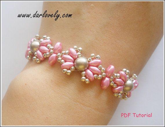 Beaded Bracelet Pattern Tutorial - Pink Shell Pearl Superduo Bracelet (BB190) - Beading Jewelry PDF Tutorial (Digital Download)