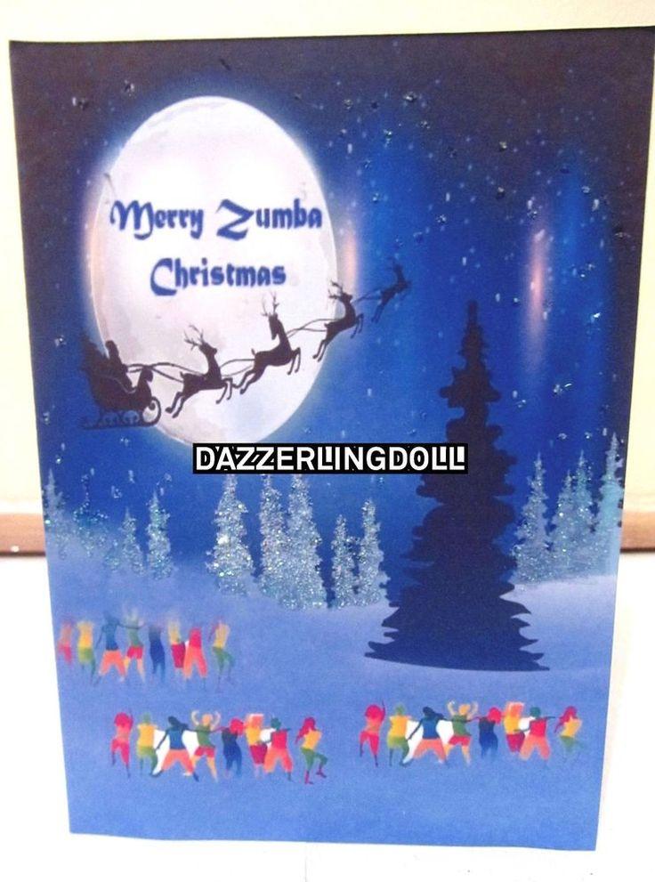 ZUMBA Christmas card, GLITTERED handmade greeting card  ZUMBA
