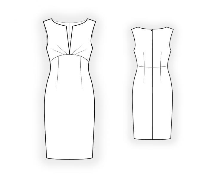 Dress With Inset  - Cartamodello #4422 Made-to-measure sewing pattern from Lekala with free online download. Molto aderente, Cuciture a principessa, Carré, Waist seam, Pleats, Zip, Scollo a barca, Scollo a V, Nessun colletto, Senza maniche, Al ginocchio, Gonna dritta, Nessuna tasca