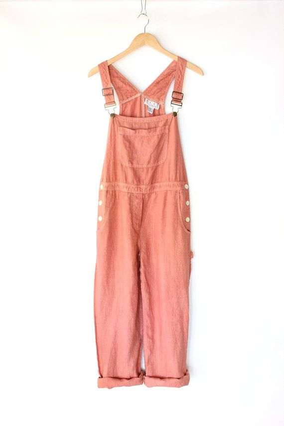 80s Dusty Pink Painters Overalls - Vintage Pink Bib Overall Pants