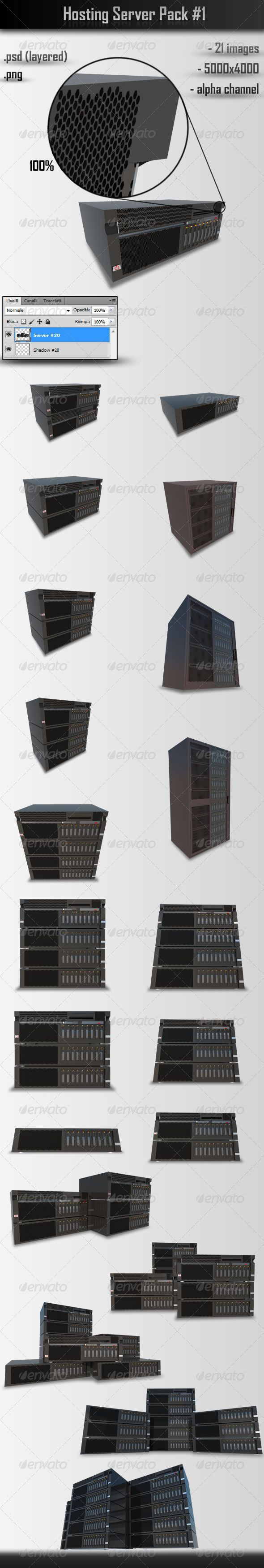 Hosting Server Pack #1  #GraphicRiver         21 photorealistic rendering of hosting server usable for images in design of sites, banners, booklets, posters, articles in magazines and more… including a layered .psd files and a PNG with transparent background     Created: 29October12 GraphicsFilesIncluded: PhotoshopPSD #TransparentPNG HighResolution: Yes Layered: Yes MinimumAdobeCSVersion: CS PixelDimensions: 5000x4000 Tags: black #cloud #computer #ebusiness #hardware #hosting #mainframe…