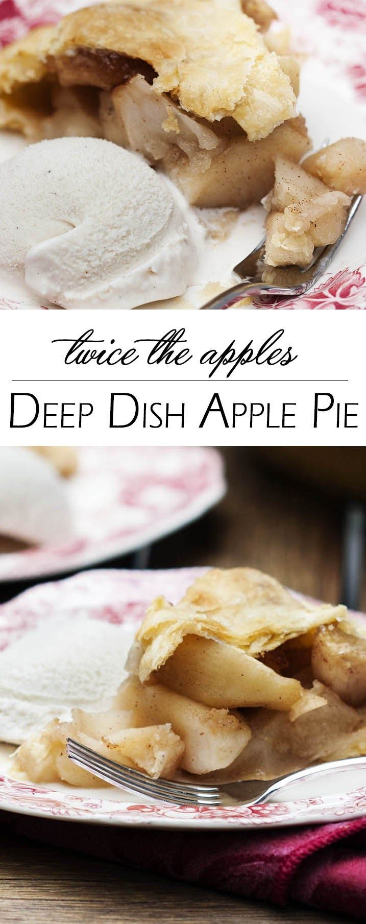 This deep dish apple pie packs twice the apples and twice the flavor into every slice of pie in this twist on the classic recipe. Excellent for Thanksgiving!   http://justalittlebitofbacon.com