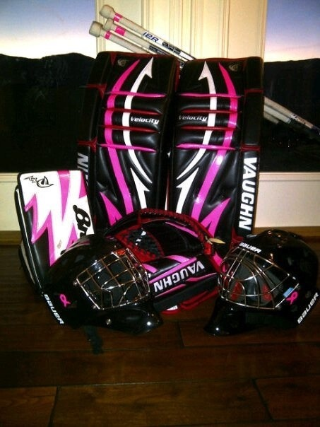 Hunter Prall's goalie pads for  Breast Cancer Awereness