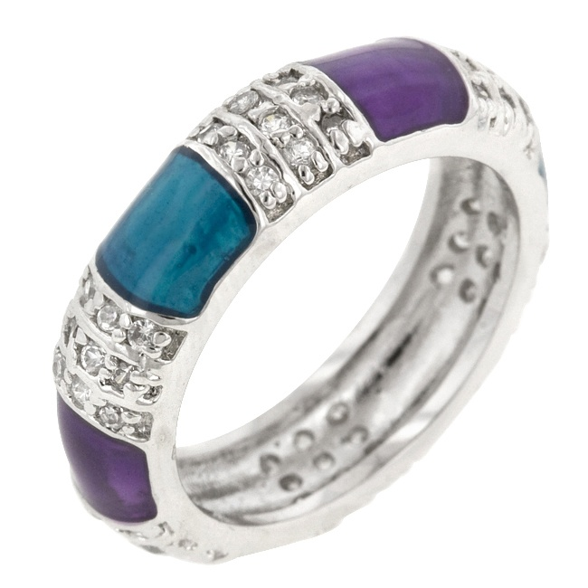 Purple and Turquoise Fashion Ring  Price:  US$39.99  White Gold Rhodium Bonded Cocktail Ring with Purple and Turquoise Color Accents in Silver tone