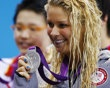 Elizabeth Beisel of the U.S. poses with her silver medal during the women's 400m individual medley