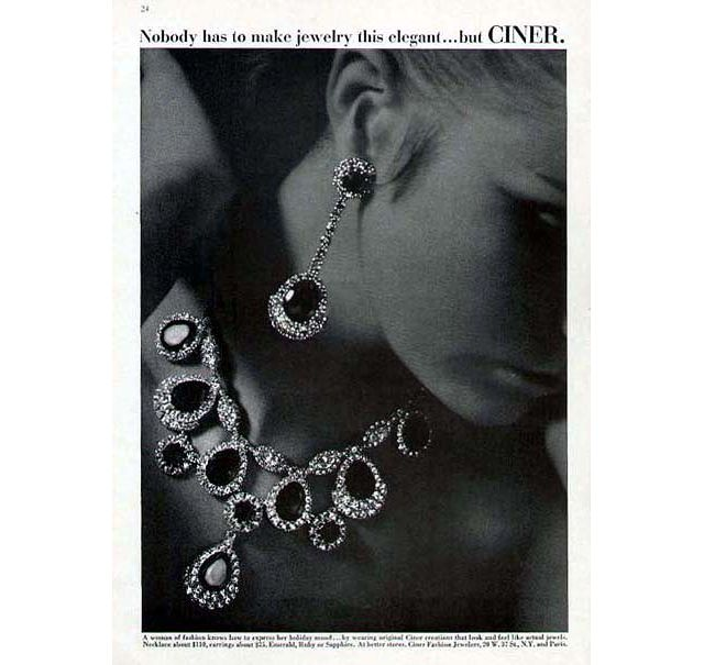 Vintage ad for jewelry house CINER