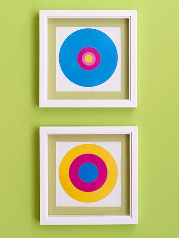 chic: peel-and-stick circles on mat board make the perfect colorful addition to a kid's room...