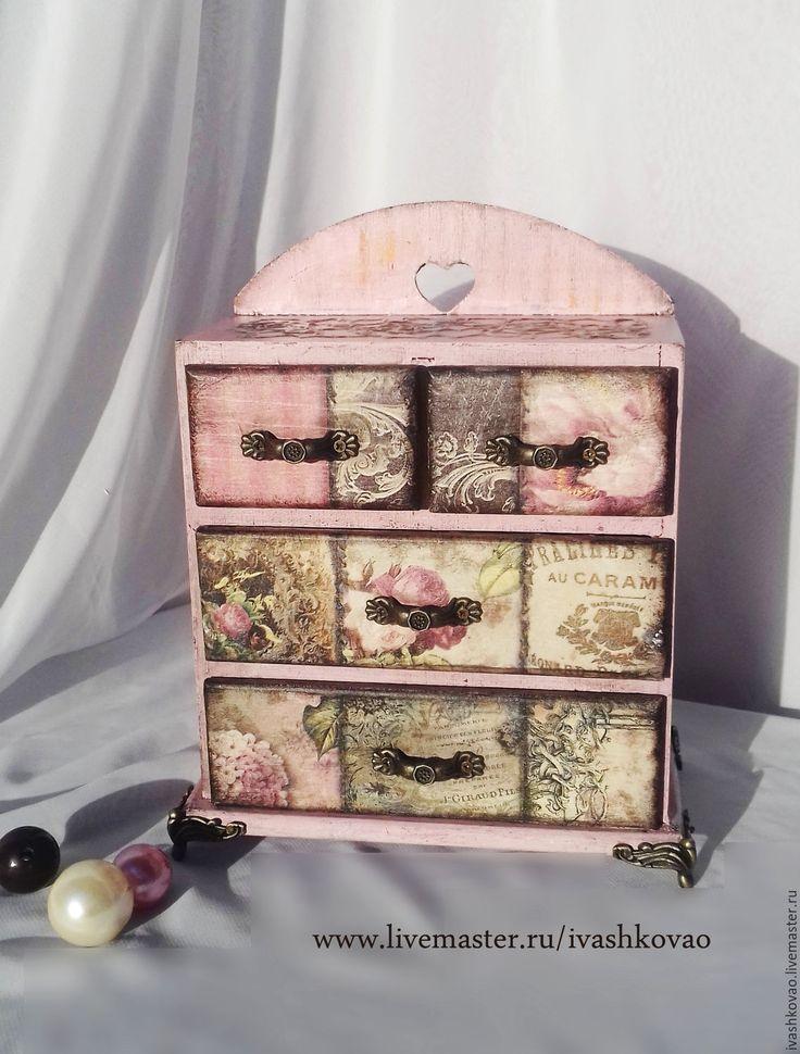 Купить Мини-комодик Винтаж - розовый, розы, шкатулка, для урашений, для бижутерии, ручная работа, Декупаж