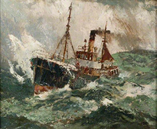 Trawler in a Rough Sea By Harry Hudson Rodmell
