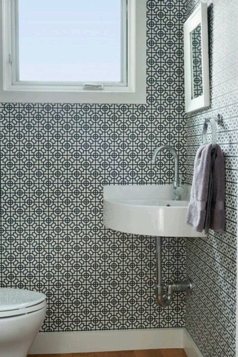 Small powder room sink powder room pinterest florida houses powder and bath powder - Small half bathroom tile ideas ...
