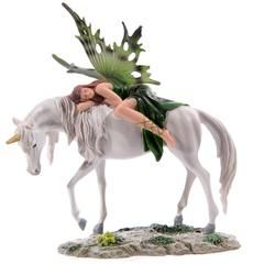 £20.00 Unicorn and Fairy Figurine - Travelling companions, its been a long journey to the mystical lake for emerald fairy and she's having a little nap while they continue. Emerald Sleeping Forest Fairy on Standing Unicorn.
