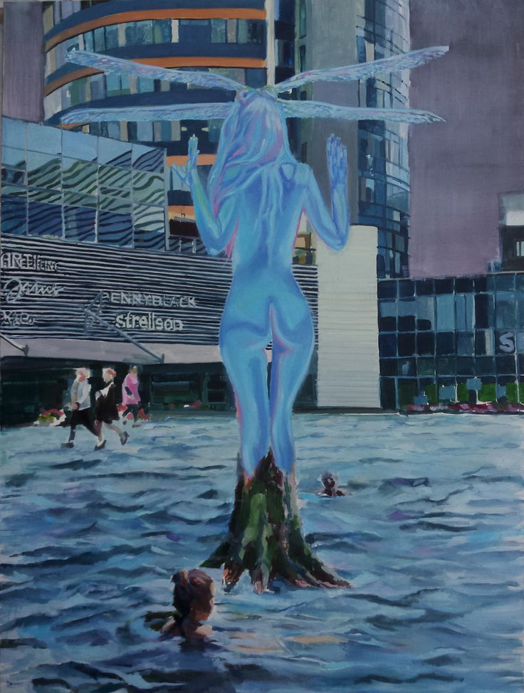 """Alien hologram painting, """"Europa Square"""", oil on canvas"""