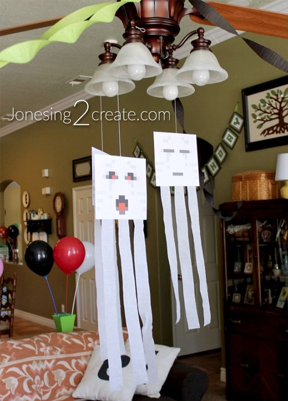 Love these easy Ghast decorations! They are also great for target practice! Perfect for a Minecraft party.