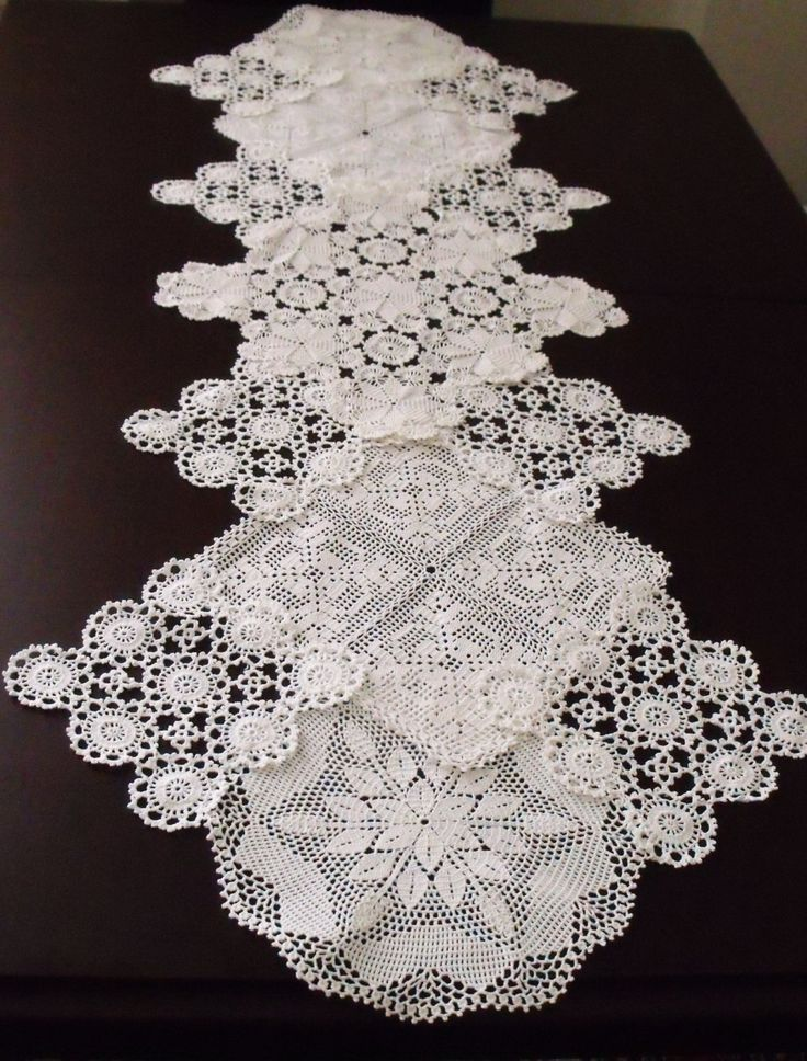 Vintage Doily Runner Wedding Table DecorationTable RunnerEco Wedding Table Cloth Handcrocheted Vintage Doilies (61.90 USD) by AccessoriesInLove