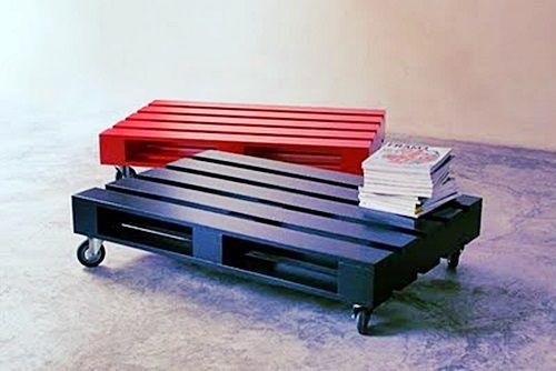 Mesa de centro com pallets: bonitas, bem feitas e bem pintadinhas. Não esqueça de saber a procedência.