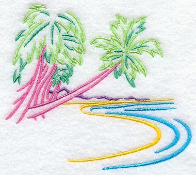 Tropical Palm Tree Island design (A8417) from www.Emblibrary.com