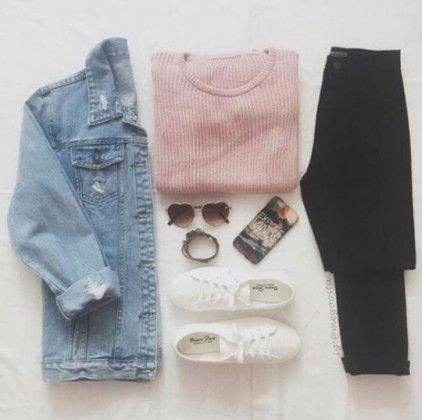 denim jacket + pink + sneakers / #fall #outfits