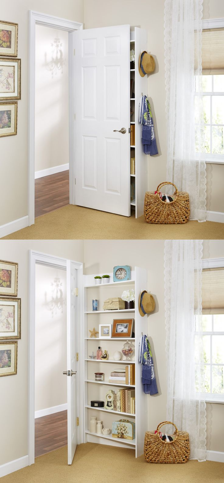 Small spaces  Hide Behind the Door Shelving System by Foremost , because  it's possible to fit extra storage