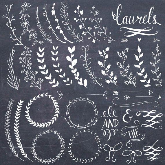 CLIP ART: Chalkboard Laurels & Wreaths // door thePENandBRUSH