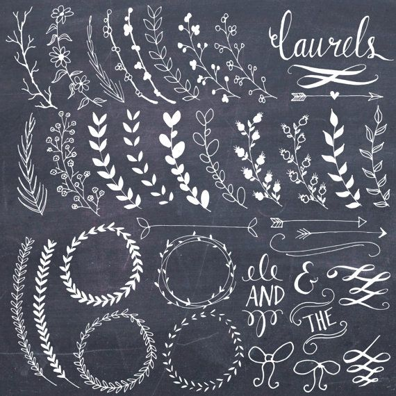 Chalkboard Laurels & Wreaths Clip Art // Plus Photoshop Brushes // Hand Drawn // Ribbon Foliage Leaves // Vector // Commercial Use