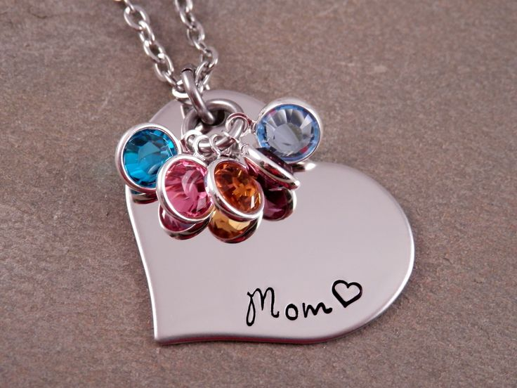 Mom Heart Birthstone Necklace at Sweet Blossom Gifts