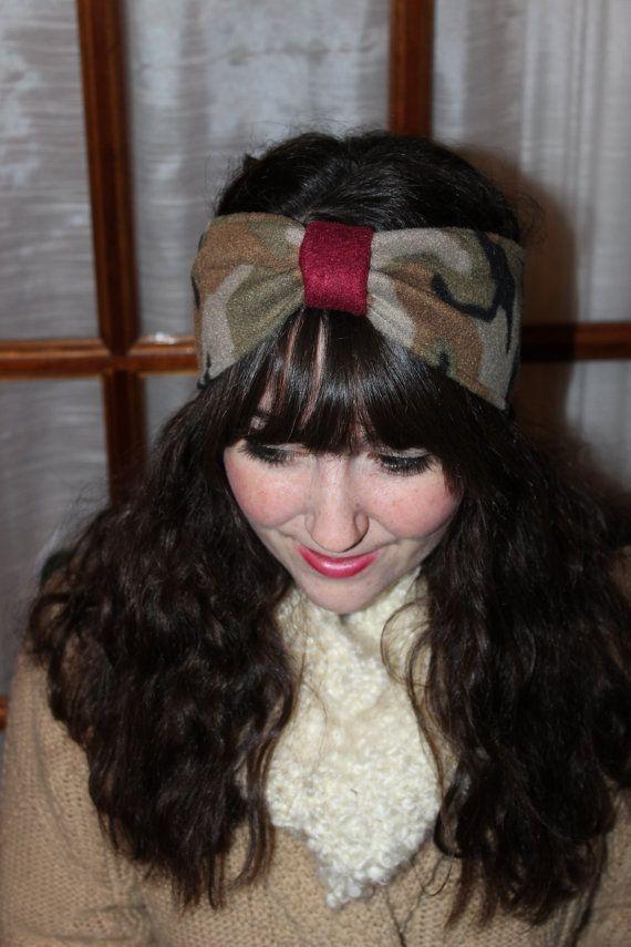 "Camo ""Paris Style"" Warm Fleece Camouflage Head Wrap, Ear Warmer with Cranberry Center Cinch on Etsy, $12.00"