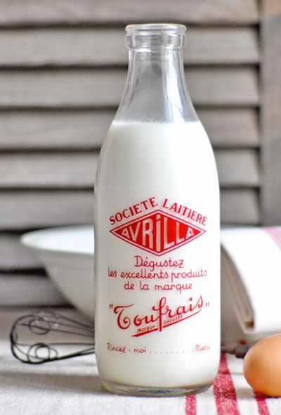 Red and white French Milk Bottle