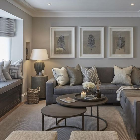 gray living room with wall art
