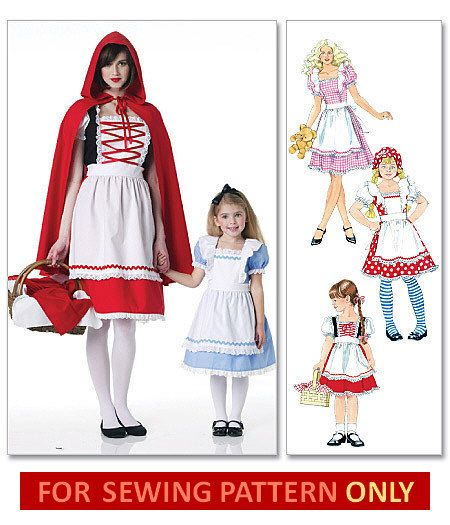 COSTUME SEWING PATTERN - Goldilocks / Alice in Wonderland / Little Red Riding Hood - Child Sizes 3 to 8 Years. $6.99, via Etsy.