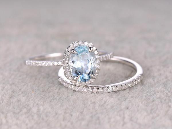 2pcs Oval Blue Aquamarine Wedding ring set.Engagement ring,Diamond wedding band,Solid 14K White Gold,Gemstone Promise Bridal Ring,Stacking