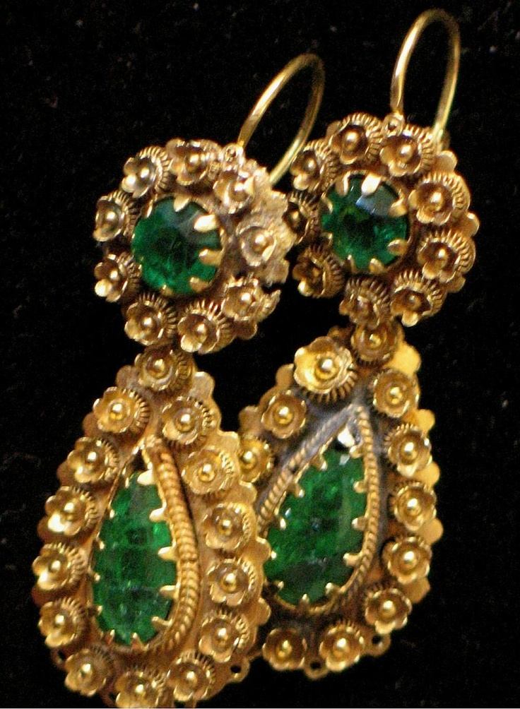 Georgian 18th Century Emerald Day & Night Earrings