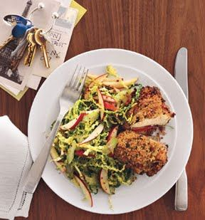 Unfried Chicken With Cabbage and Apple Slaw: Recipes: Self.com