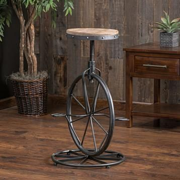 Buy Charles Bicycle Wheel Adjustable Bar Stool by GDFStudio on Dot & Bo