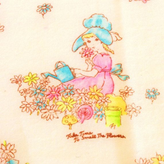 Vintage 1960s Fabric Girls Sleepwear Flannel  ette Take by Revvie1, $10.00
