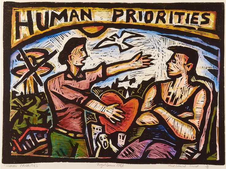 Nigel Brown Human Priorities (1988) Hand-coloured linocut  460 x 610mm