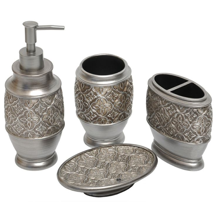 Kasbar Silver 4 Piece Bath Accessory Set | Overstock.com Shopping   The Best