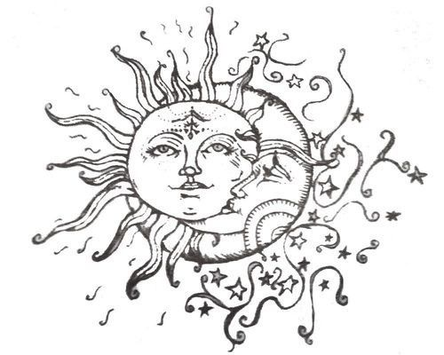 Celestial Sun And Moon Sketch Tattoos Pinterest