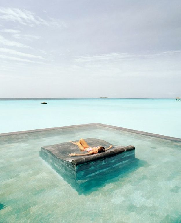 In the middle of a pool in the middle of the sea. | Community Post: 44 Amazing Places You Wish You Could Nap Right Now