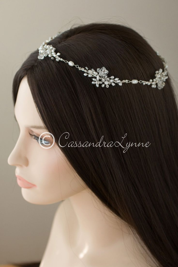 Pearl Wedding Hair Halo with Crystal Bead Flowers