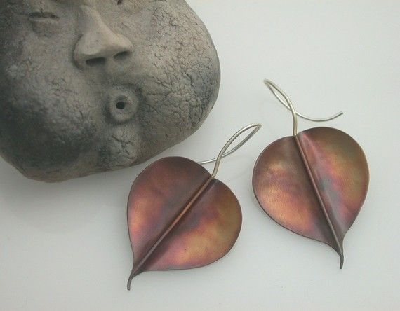 Bodhi Leaf Earrings Copper Large Pipal Buddha Leaf 134mc by ginkgo, $42.00