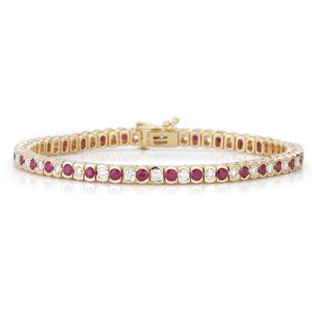 Angara 3mm Ruby Scooped Link Tennis Bracelet in White Gold Dv9JgyLXVo