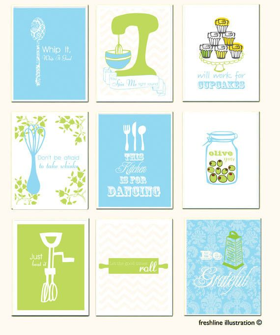 Kitchen Wall Art Set Funny Kitchen Art Mixer Roll with it Mothers Day Gift Idea Thumbnail