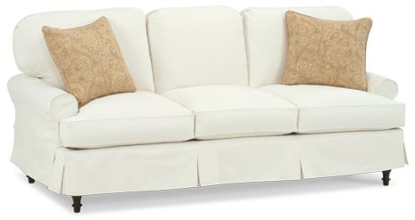 """Four Seasons slip cover sofa """"Annie"""" bench made in North Carolina. Exposed leg choice of color.  Townhouse sofa with two cushions 74"""" W or 82"""" wide X 37""""DX37""""H. Backs can be square box corners. Grade 3 fabrics $1,462.00, Grade 4 fabrics $1,534.00 either width..  Chair 36""""W X 37""""D X 37"""" H.  Grade 3 fabrics $963.00, Grade 4 fabrics $1,008.00.  I have quoted with the down option for the throw pillows, in Grade 3 Conservatory."""
