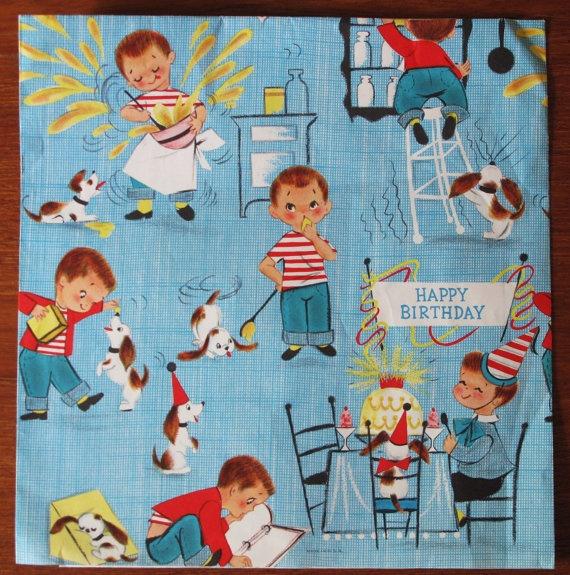 Vintage Gift Wrap Wrapping Paper JUVENILE BOY Ambassador Hallmark Birthday 1950s