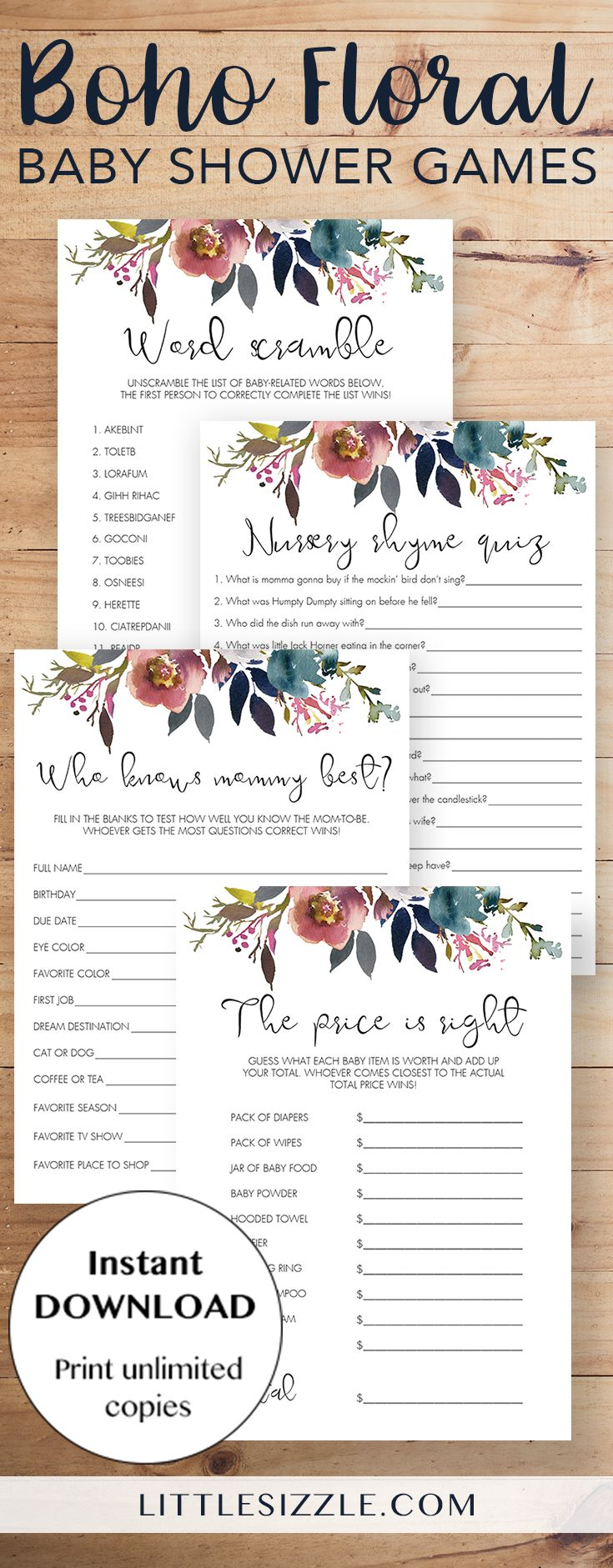 Boho floral baby shower games printable by LittleSizzle. Entertain your guests with this pack of popular printable baby shower games with gorgeous floral watercolor design. WOW everyone with your own baby shower games with pink and purple flowers. This printable boho themed game pack is perfect for any girl or neutral baby shower and will create lots of fun moments! The pack includes easy and popular games like baby word scramble, nursery rhyme quiz, who knows mommy best and the price is right.