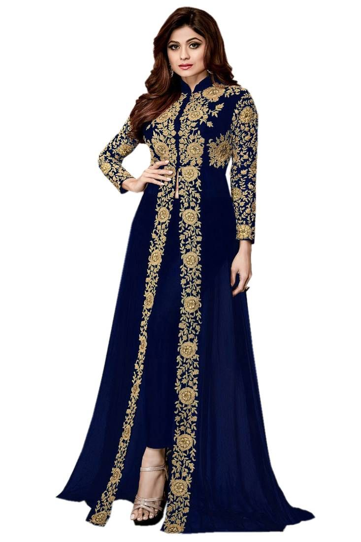 d7dbc622cf Buy Blue Embroidered Jacket Style Faux Georgette Salwar Suit Online