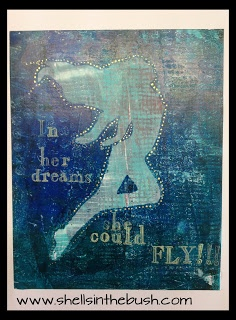 Gelli Print by Michelle Reynolds - In her dreams she could FLY!!!